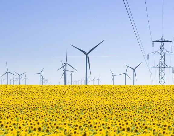 Elektrownie wiatrowe i linie przesylowe na Ukrainie.
